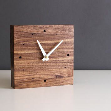 """Handcrafted 5.5"""" square desk clock walnut wood with glossy white tapered hands"""