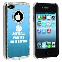 Apple iPhone 4 4S 4G Light Blue S1925 Rhinestone Crystal Bling Aluminum Plated Hard Case Cover Softball Players Do It Better