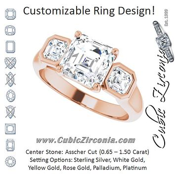 Cubic Zirconia Engagement Ring- The Alana Marie (Customizable 3-stone Cathedral Asscher Cut Design with Twin Asscher Cut Side Stones)