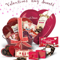 Valentine's Day chocolates and heart-shaped boxes from Russell Stover's Valentine's Day Collection