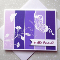 Royal Butterfly, Purple, Color Block Hello Friend Cards 8ct