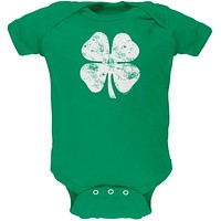 St. Patricks Day - Distressed Shamrock Kelly Green Soft Baby One Piece