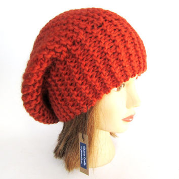 Beret hat Slouchy beanie hat burnt orange slouch hat chunky knit slouchy hat Irish knit accessories for women warm winter hat wool gift tam
