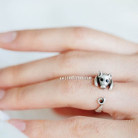 vintage pig ring,jewelry,ring,vintage ring, animal ring, antique silver ring,burnished pig ring,pig ring,knuckle ring,wrap ring