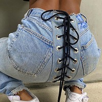 New female slim fit all-match trend color contrast eyelet jeans