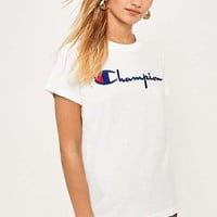 Champion White Logo T-Shirt | Urban Outfitters