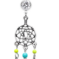 Classic Beaded Dream Catcher Belly Button Ring