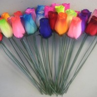 Bouquet of 36 Mixed Color Wooden Rose Buds Artificial Flower (MULTI, 1)