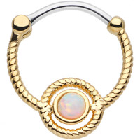 16 Gauge Iridescent Gem Gold Ion-Plated Encircle Me Septum Clicker   Body Candy Body Jewelry