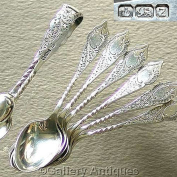 Set of Victorian / Art Nouveau 925 Sterling Solid Silver Tea Spoons and Sugar Tongs by James Deakin & Sons HM for Sheffield 1892 (ref: 3191)