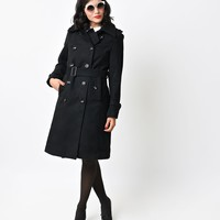 Black Double Breasted London Button Trench Coat