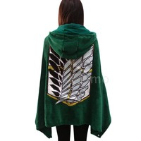 Cool Attack on Titan Fashion Coral Fleece Anime No   Cloak Cape Blanket Cosplay AT_90_11
