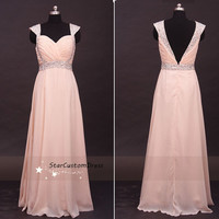 Blush Long Bead Bridesmaid Dress Chiffon Dress With cap sleeves Open Back For Prom Dress