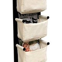 Wall Mounted Magazine Storage Rack - Espresso Finish/canvas Baskets