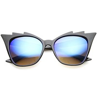 Women's Jagged Edge Mirror Lens Cat Eye Sunglasses A161