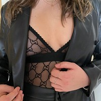 GG women's sexy embroidered letter bodysuit
