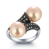 Pearl Rings Game of Thrones Same Style Ring Freshwater Pears Jewelry Brass with Rhodium Plated Women Wedding Rings