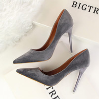 LALA IKAI Patchwork Women Pumps Elegant High Heel Shoes Women Pointed Toe Office Women Shoes Valentine Shoes XWC0668-5