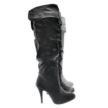 Focus33 High heel Wrinkled Slouchy Dress Boots - Stretch Foldable Over Knee