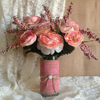 rustic coral pink lace and burlap covered vase, wedding, bridal shower, baby shower, tea party, birthday party decoration