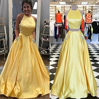 Yellow Halter Satin Two Piece Prom Dresses Pockets Sequins Evening Dress