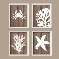 Bathroom Wall Art Canvas Artwork Nautical Coral Reef Ocean Sea Wood Grain Crab Lobster Starfish Set of 4 Prints Decor Shower Curtain
