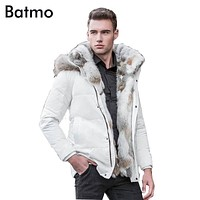 Batmo winter High Quality duck down jacket men coat parkas thick Liner male Warm Clothes Rabbit fur collar ,PLUS-SIZE 828