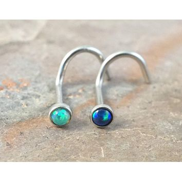 Light Green Opal and Black Fire Opal Corkscrew Nose Piercing Ring Stud