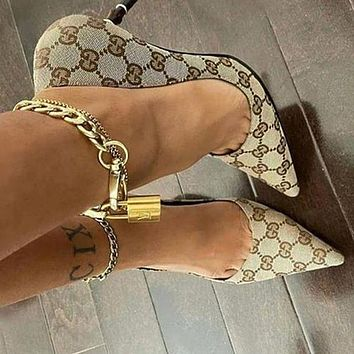 GG Womens Double G Pointed Sexy High Heels Shoes