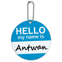 Antwan Hello My Name Is Round ID Card Luggage Tag