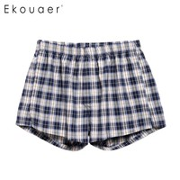 Men Boxer Underwear Sexy Lingerie Elastic Waist Plaid Check Woven Boxer with Thong Top New Arrival