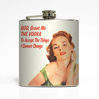 Funny Alcohol Flask God Grant Me the Vodka Liquid Courage Ephemera Adult Women Birthday Gift Stainless Steel 6 oz Liquor Hip Flask LC-1443