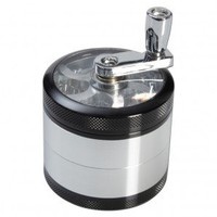 Aluminum Window Crank Herb Grinder - Black and Silver - 56mm - 4-part - Without Carb Hole - Glass Bongs - Bongs and Waterpipes - Smoking Pipes - Grasscity.com