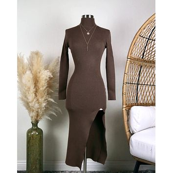 Long Sleeve Ribbed Bodycon Midi Dress With Side Slit in Brown