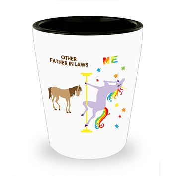 Funny Father-in-Law Gifts Pole Dancing Unicorn Father in Law Rainbow Father of Bride Ceramic Shot Glass