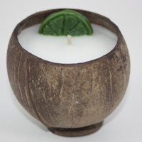 Coconut Candle, Scented in Coconut Lime Verbana, Coconut Shell Candle