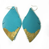 Three Little Indians Earrings - Small Light Blue | Gold Leaf