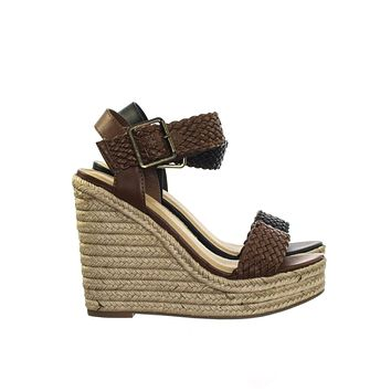 Remain Espadrille Jute Wrapped Platform High Wedge Heel Sandal w Braided Strap