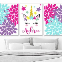 UNICORN Wall ART, Unicorn Nursery Decor Canvas or Prints Girl Name Art, Unicorn Birthday, Unicorn Lover Gift, Set of 3 Unicorn Theme