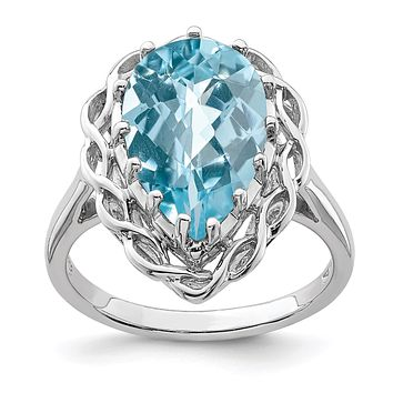 Sterling Silver Rhodium Checker-Cut Sky Blue Topaz Gemstone Birthstone Ring Fine Jewelry Gift for Her