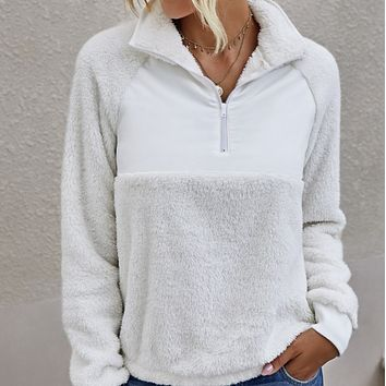 Explosion style hot sale stand-up collar ladies plush pullover