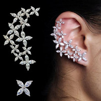 High Quality Cubic Zirconia Floral Ear Cuff Earring w/ Stud Included