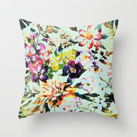 flowers in the wind Throw Pillow by Clemm