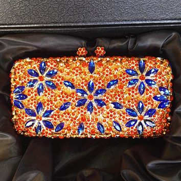 Orange Luxury  Rhinestone Crystal Minaudiere Bridal Clutch