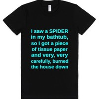 I Saw A Spider In My Bathtub-Female Black T-Shirt