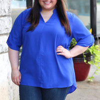 Rolled Up Blouse in Royal {Curvy}