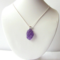Amethyst Necklace Sterling Silver  Purple Amethyst Druzy Quartz Pendant, Druzy Necklace