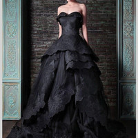 2016 Hot  Black Gothic Wedding Dresses Sweetheart Lace Ball Gown Wedding Dress  Bridal Gowns Custom Size robe de mariage