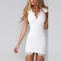Lace Hollow Irregular V-neck Sleeveless Short Dress