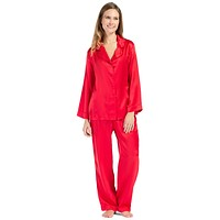 Women's 100% Mulberry Silk Classic Full Length Pajama Set with Gift Box